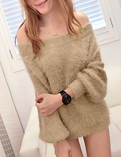 tanie Swetry damskie-Damskie Z odsłoniętymi ramionami Pulower Jendolity kolor Długi rękaw