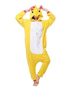 billige Kigurumi-Kigurumi-pysjamas Enhjørning Onesie-pysjamas Kostume Flanell Fleece Gul Cosplay Til Pysjamas med dyremotiv Tegnefilm Halloween Festival /