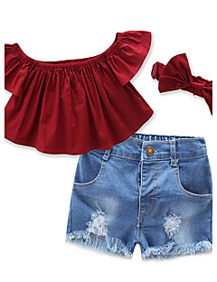 Girls' Solid Vintage Sets,Cotton Polyester All Seasons Short Pant Clothing Set
