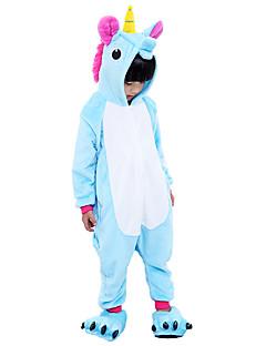 billige Kigurumi-Kigurumi-pysjamas med tøfler Pegasus Enhjørning Onesie-pysjamas Kostume Flannelstoff Lilla Blå Rosa Cosplay Til Barne Pysjamas med