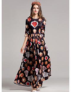 Kadın Dışarı Çıkma Kılıf Elbise Desen,Yarım Kol Yuvarlak Yaka Maksi Polyester Sonbahar Normal Bel Mikro-Esnek Orta
