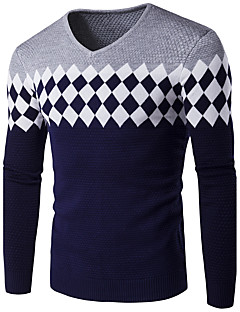 Men's Plus Size Casual Regular Pullover,Print Houndstooth Round Neck Long Sleeves Cotton Winter Fall Medium Stretchy