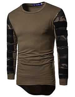 Men's Sports Casual/Daily Simple Active T-shirt,Camouflage Round Neck Long Sleeves Cotton