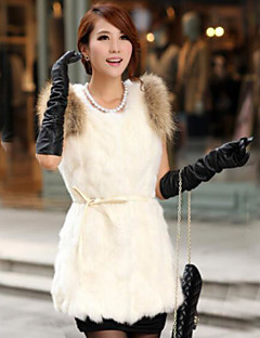 Damen Solide Einfarbig Einfach Lässig/Alltäglich Weste,Rundhalsausschnitt Winter Ärmellos Standard Andere