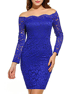 Women's Club Plus Size Simple Sexy Bodycon Lace Dress,Solid Boat Neck Above Knee Long Sleeves Polyester Spring Fall Mid Rise Micro-elastic