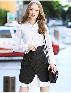 Feminino Blusa Calça Conjuntos Casual Simples Outono,Sólido Colarinho de Camisa Manga Longa Inelástico