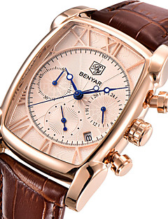 Herrn Modeuhr Armbanduhr Einzigartige kreative Uhr Japanisch Quartz Kalender Stopuhr Echtes Leder Band Cool Bequem Luxuriös Braun