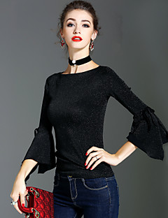 Dames Vintage Street chic Verfijnd Lente Herfst T-shirt,Feestdagen Uitgaan Effen Ronde hals Lange mouw Nylon Medium