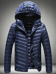 Herren Daunen Mantel,Standard Einfach Lässig/Alltäglich Übergröße Solide-Baumwolle Polyester Weiße Entendaunen Langarm
