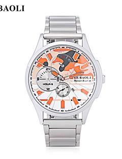 billige Høj kvalitet-JUBAOLI Herre Quartz Armbåndsur Kinesisk Kalender Stor urskive Rustfrit stål Legering Bånd Mode Sej Hvid