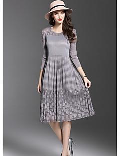 Kadın Dışarı Çıkma Kılıf Elbise Solid,Uzun Kollu Yuvarlak Yaka Midi Polyester Sonbahar Normal Bel Mikro-Esnek Orta