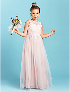 cheap Junior Bridesmaid Dresses-A-Line Princess Jewel Neck Floor Length Tulle Junior Bridesmaid Dress with Appliques Pleats by LAN TING BRIDE®