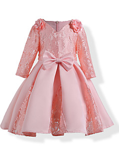 Girl's Birthday Going out Solid Jacquard Dress,Cotton Polyester Fall All Seasons Long Sleeve Lace Blushing Pink