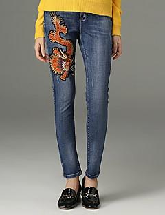 レディース ストリートファッション ミッドライズ タイト マイクロエラスティック ジーンズ パンツ 刺繍 ソリッド