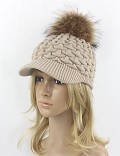 女性 秋 冬 ハット ニット ウール アクリル ラクーン 純色 フロッピーハット スキー帽 ベースボールキャップ 日よけ帽 純色
