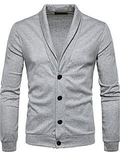 Herren Standard Strickjacke-Lässig/Alltäglich Einfach Solide Hemdkragen Langarm Polyester Herbst Winter Mittel Mikro-elastisch