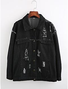 baratos Ponta de Estoque-Mulheres Jaqueta jeans Simples - Sólido