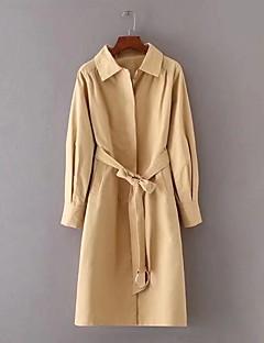 Dames Eenvoudig Lente Herfst Trenchcoat,Uitgaan Casual/Dagelijks Effen Overhemdkraag Lange mouw Lang Katoen Overige