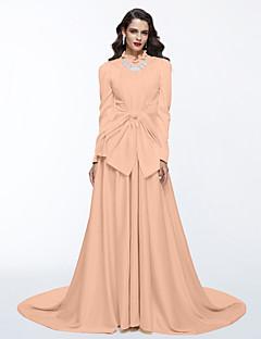 billiga Kändisklänningar-A-linje Hög hals Svepsläp Satäng Formell kväll Klänning med Rosett(er) / Plisserat av TS Couture®