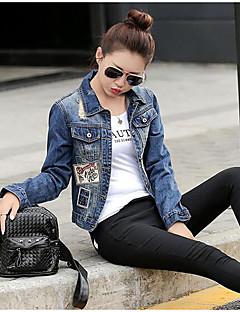 Damen Buchstabe Street Schick Lässig/Alltäglich Jeansjacke,Hemdkragen Frühling Herbst Lange Ärmel Standard Baumwolle