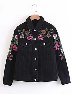 Damen Solide Einfach Ausgehen Lässig/Alltäglich Jeansjacke,Hemdkragen Frühling Herbst Lange Ärmel Standard Andere Stickerei