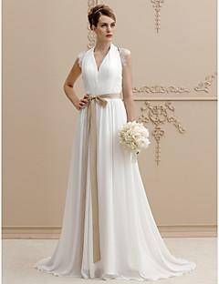 billiga A-linjeformade brudklänningar-A-linje / Prinsessa V-hals Svepsläp Chiffong / Spets Bröllopsklänningar tillverkade med Bård / Spets / Bälte / band av LAN TING BRIDE®