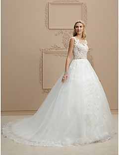 Ball Gown Illusion Neckline Chapel Train Lace Tulle Wedding Dress with Appliques Buttons by LAN TING BRIDE®