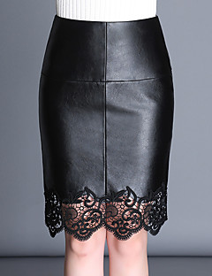 Women's Casual/Daily Above Knee Skirts,Simple Bodycon Lace Solid Fall Winter