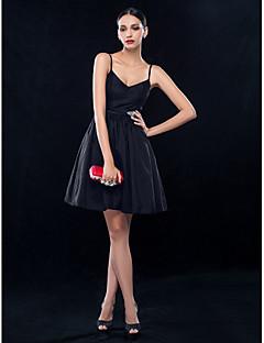 billiga Den lilla svarta-A-linje Smala axelband Kort / mini Taft Den lilla svarta Cocktailfest Klänning med Kristalldetaljer / Bälte / band av TS Couture®