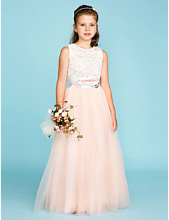 cheap Junior Bridesmaid Dresses-Princess Two Piece Jewel Neck Floor Length Lace Tulle Junior Bridesmaid Dress with Crystal Detailing by LAN TING BRIDE®