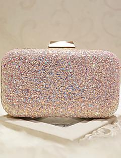 hesapli -Kadın's Çantalar özel Malzeme Gece Çantası Payet için Düğün / Davet / Parti / Resmi İlkbahar yaz Beyaz / Doğal Pembe