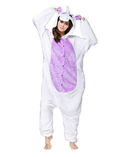 billige Kigurumi-Kigurumi-pysjamas Enhjørning Onesie-pysjamas Kostume Flanell Fleece Hvit Lilla Cosplay Til Pysjamas med dyremotiv Tegnefilm Halloween