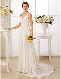 billiga A-linjeformade brudklänningar-A-linje / Prinsessa remmar Hovsläp Chiffong / Spets Bröllopsklänningar tillverkade med Applikationsbroderi / Knappar / Bälte / band av