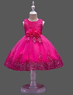 お買い得  ガールズウェア-子供 女の子 パーティー ソリッド / フラワー スパンコール ノースリーブ ドレス