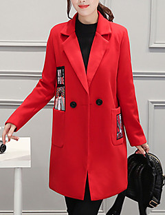 cheap Women's Coats & Trench Coats-Women's Going out Coat - Solid Colored V Neck