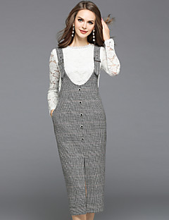 Women's Daily Going out Street chic Fall Blouse Skirt Suits,Solid Round Neck Long Sleeve Lace Cut Out Polyester Inelastic