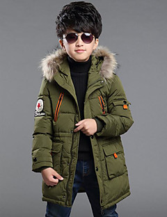 cheap Boys' Jackets & Coats-Boys' Solid Down & Cotton Padded Winter Long Sleeve Red Army Green