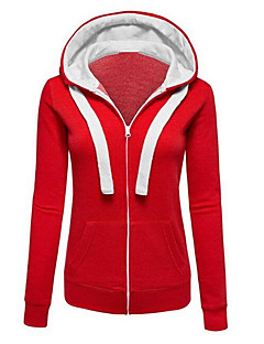 Women's Going out Casual/Daily Street chic Hoodie Solid Color Block Hooded Micro-elastic Cotton Fall Winter