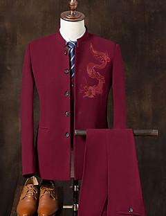 Herren Druck Einfach Chinoiserie Lässig/Alltäglich Übergröße Anzüge,Ständer Frühling Herbst Lange Ärmel Standard Baumwolle Stickerei