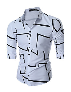 Men's Daily Going out Spring Fall Shirt,Geometric Square Neck Long Sleeves Cotton Medium