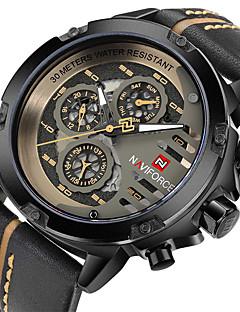 Pánské Vojenské hodinky Hodinky s lebkou Unikátní Creative hodinky Křemenný Pravá kůže Kapela Černá Hnědá