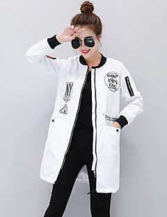 Women's Casual/Daily Simple Fall Trench Coat,Print Hooded Long Sleeve Long Others