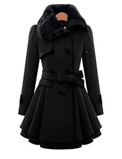 Χαμηλού Κόστους Women's Wool Coats-Γυναικεία Παλτό Μονόχρωμο, Πεπαλαιωμένο Στυλ Φλας