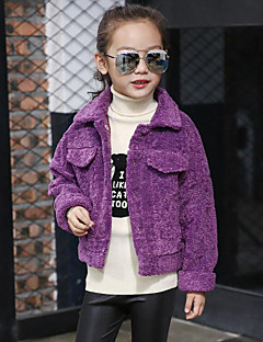 Girls' Solid Jacket & Coat,Polyester Winter Fall Long Sleeve Purple