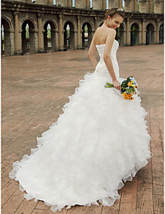 baratos Loja de Casamentos-Princesa Decote Princesa Cauda Capela Organza / Cetim Vestidos de casamento feitos à medida com Miçangas / Babados em Cascata / Cruzado de