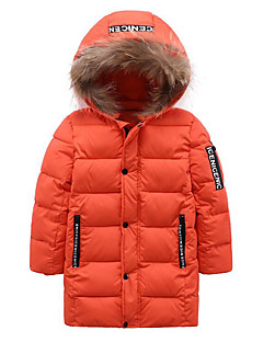 Boys' Patchwork Jacket & Coat,Polyester Winter Fall Long Sleeve Black Orange