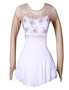 Eiskunstlaufkleid Damen Mädchen Eiskunstlaufkleider Weiß/Weiß Elastan Hochelastisch Blumen Sport Leistung Dehnbar Handgemacht Langarm