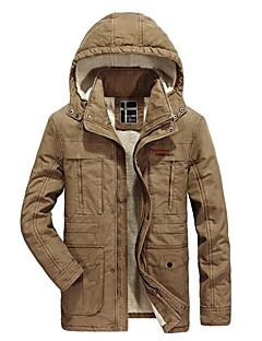 コート レギュラー パーカー メンズ,カジュアル/普段着 プラスサイズ カラーブロック ウール コットン レーヨン シンプル 長袖