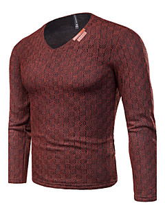 tanie Męskie swetry i swetry rozpinane-Męskie Rozmiar plus Na co dzień W serek Pulower Jendolity kolor Pepitkę Długi rękaw