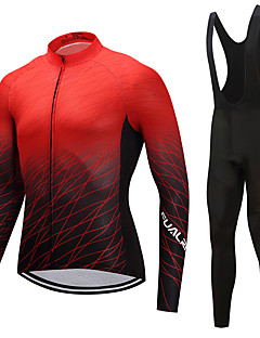 FUALRNY® Cycling Jersey with Bib Tights Men's Long Sleeves Bike Clothing Suits High Elasticity Fleece Winter Cycling/Bike Black/Red